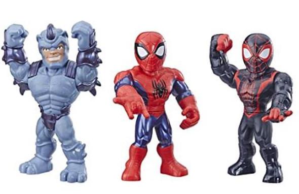 "Toy Playskool  Marvel Super Hero Adventures Web Warriors 3 Pack, Spider-Man, Kid Arachnid, Rhino, 10"""