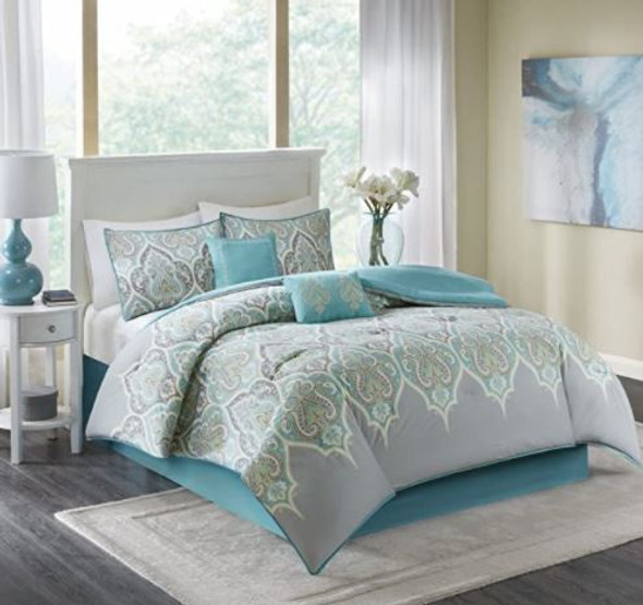 Comforter Set Comfort Spaces Modern Queen 6pcs Teal/Gray