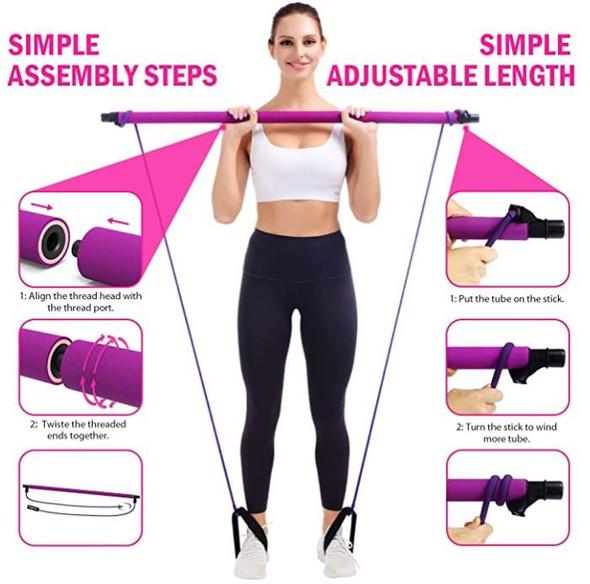 Pilates Bar Kit Viajero Portable Home Gym Workout