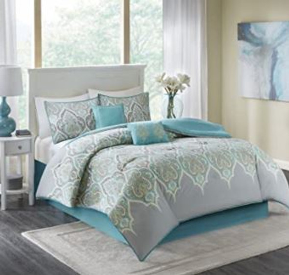 Comforter Set Comfort Spaces Modern King 6 pcs Teal/Grey