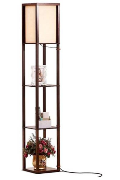 Floor Lamp Brightech Maxwell LED Shelf Havana Brown Modern Standing Light
