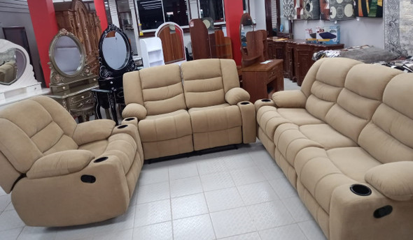 SOFA RECLINER SET 3-2-1 HONEY WITH CUP HOLDER