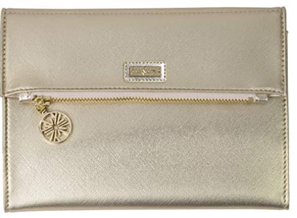 Purse Clutch  Wallet Lilly Pulitzer Vegan Leather  Metallic Gold