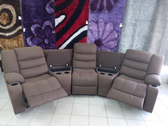 SOFA RECLINER SET SECTIONALS BROWN WITH CUP HOLDER