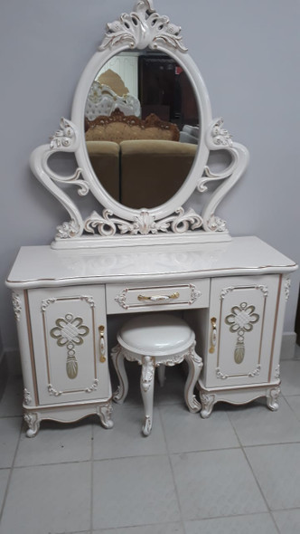 DRESSER WITH MIRROR & SEAT 8026 WHITE (CREAM) AND GOLD