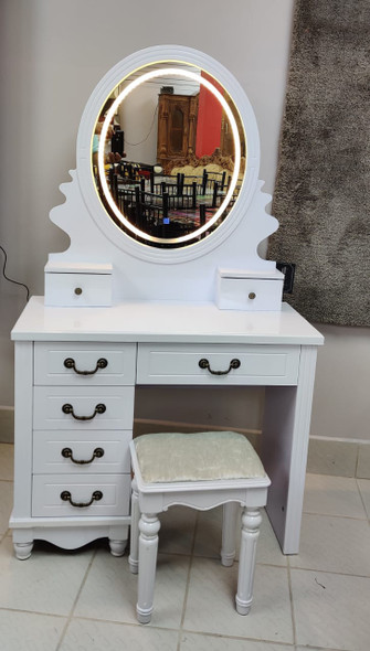 DRESSER WITH LIGHTED MIRROR & SEAT 805 WHITE