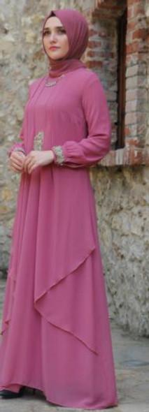 Dress Gown Plus Size Pink gold lace details