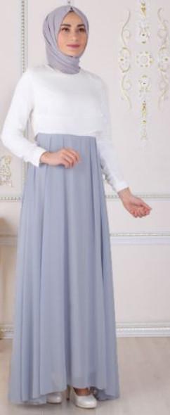 Dress Oz Duman Grey & white plain
