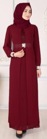 Dress Selvinur Plus Size Burgandy lace detail