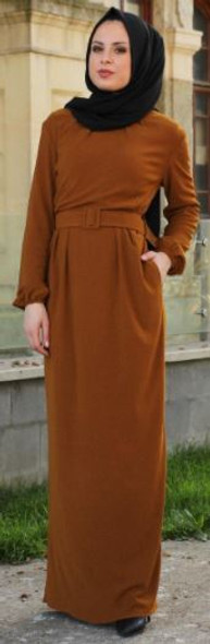 Dress with fabric belt brown