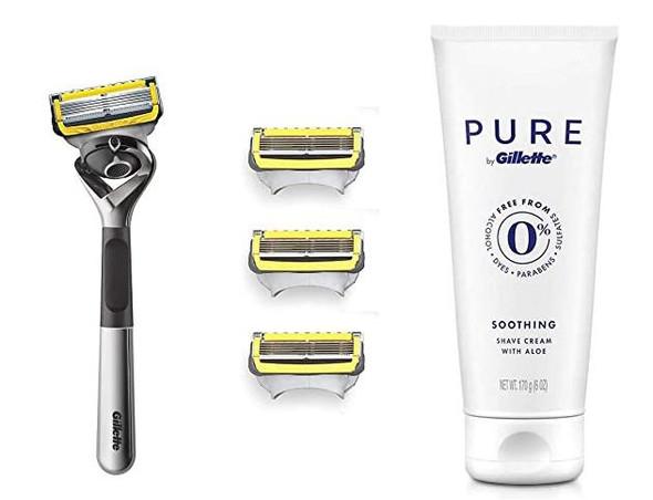 Gift Set Men Gillette Fusion Proglide 4 Fusion Blade Refills,1 Razor Handle & Shaving Cream