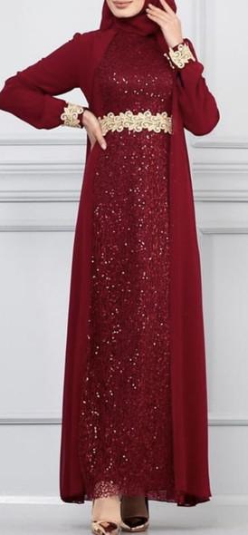 Dress Evening Gown Selvinur Plus size Burgandy lace chiffon
