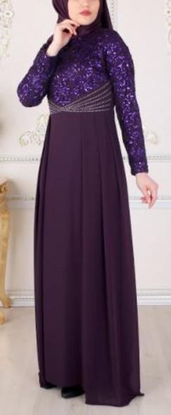 Dress Minval Purple lace sequin bodice plus size