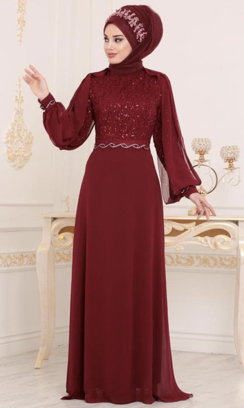 Dress Selvinur Burgandy Lace and sequin