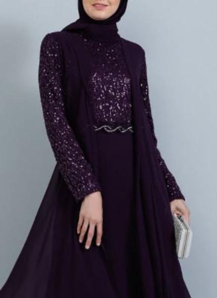 Dress Tavin Plus Size Plum lace bodice, sleeve