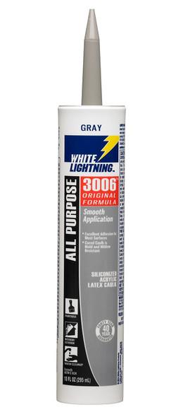 SILICONE WHITE LIGHTNING ALL PURPOSE GRAY 3006 SILICONIZED ACRYLIC LATEX CAULK 10 OZ