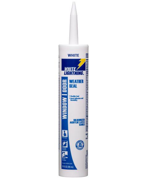 SILICONE WHITE LIGHTNING WINDOW DOOR WHITE WEATHER SEAL SILICONIZED ACRYLIC LATEX CAULK 10 OZ