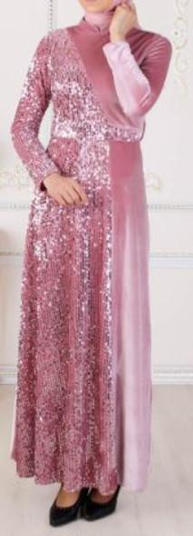 Dress Mihir Velvet with sequins blush