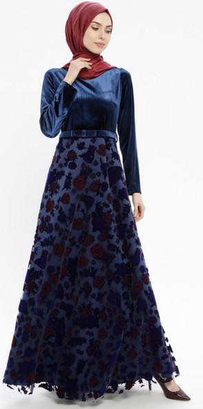 Dress Robir Navy Velvet bodice w/belt