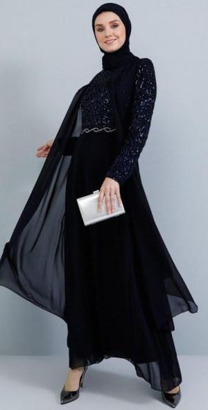 Dress Tavin Navy Lace bodice, sleeve