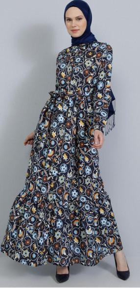 Dress Tavin Printed Floral maxi mustard, blue