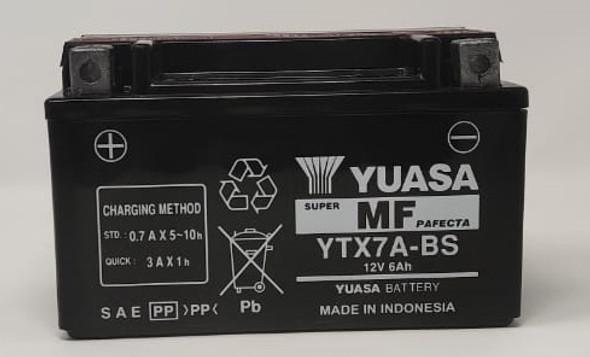 M/CYCLE BATTERY YUASA YTX7A-BS 12V 6AH
