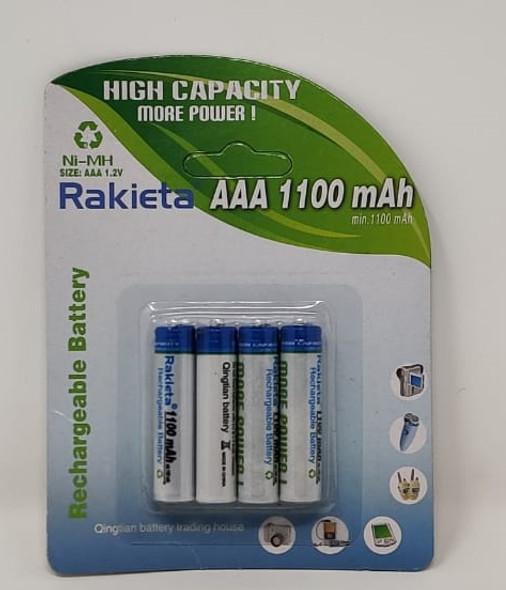 BATTERY RAKIETA RECHARGEABLE AAA 1100MAH 1.2V 4PCS PACK NI-MH