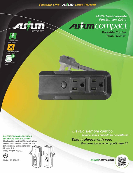 POWER STRIP PORTABLE OUTLET AS-100CO ASIUM