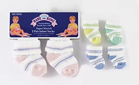BABY SOCKS BABYKING BK1959 2PAIR PACK 0-3MONTHS