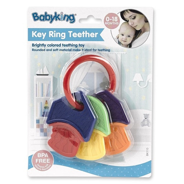 BABY TEETHER TOY BABYKING BK110 0-18MONTHS KEY RING BPA FREE