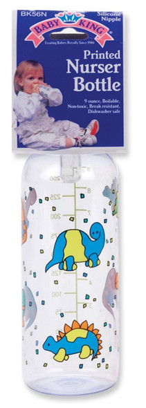 BABY BOTTLE 9oz PRINTED NURSER BABYKING BK56000 BPA FREE