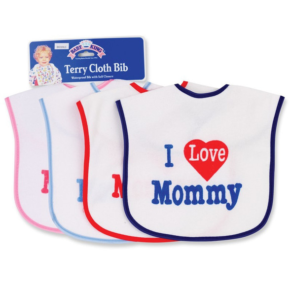 BABY TERRY CLOTH BIB I LOVE MOMMY BABYKING BK83690 SOLD EACH