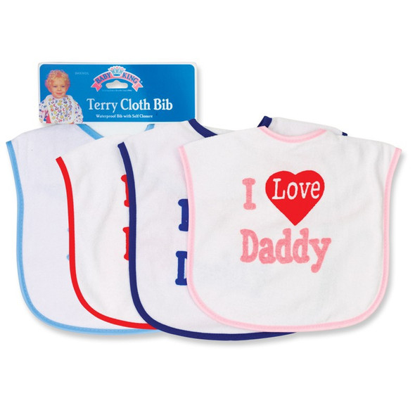 BABY TERRY CLOTH BIB I LOVE DADDY BABYKING BK90836 SOLD EACH