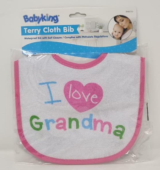 BABY TERRY CLOTH BIB I LOVE GRANDMA BABYKING BK83700 SOLD EACH