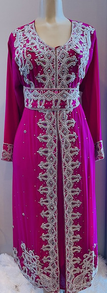 Beaded gown Pink silver white and pink stones with belt