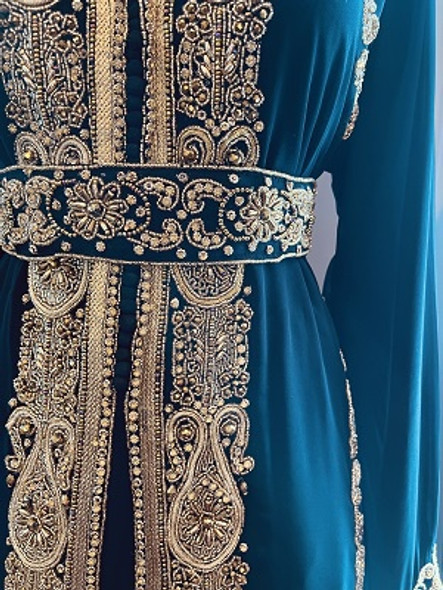 Gown Beaded Black with gold stones and band