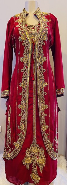 Gown Beaded Burgandy with gold beads and band