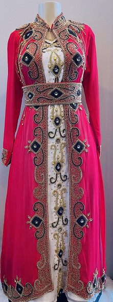 Gown Beaded Ecru & Red  with band