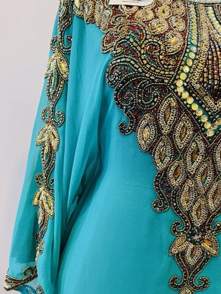 Gown Beaded Green gold beads