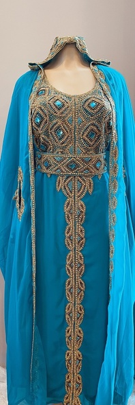 Gown Beaded Jade  embellished hood with gold bead and band