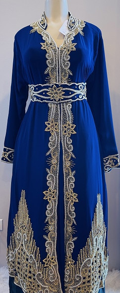 Gown Beaded Navy gold and pearl bead with band