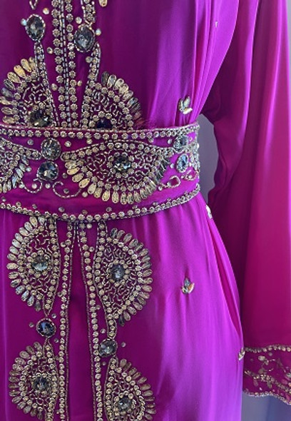 Gown Beaded Pink with gold stones and band