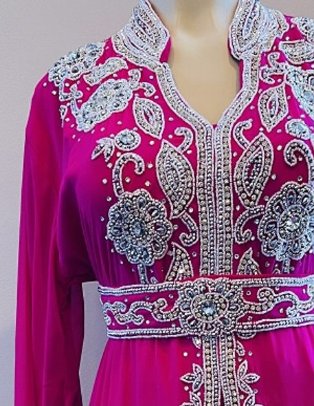Gown Beaded Pink with silver stones and band