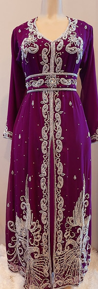 Gown Beaded Purple white and silver beads with belt