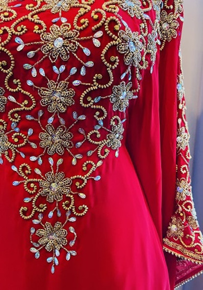 Gown Beaded Red with gold bead inner waist tie