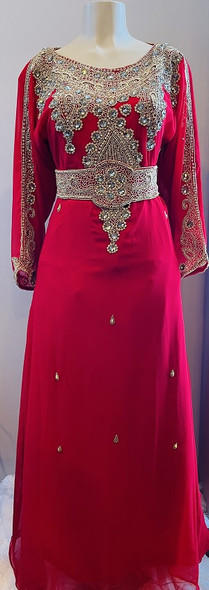 Gown Beaded Red with gold bead, stone and band