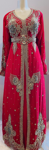 Gown Beaded Red with gold beads and band