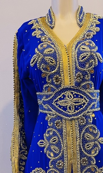 Gown Beaded Royal Blue Gold beads with band