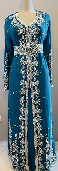 Gown Beaded Teal with pearl bead and band