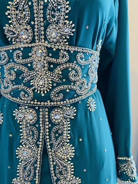 Gown Beaded Teal with silver stones and band